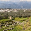 Постер, плакат: Ancient theater and the modern city of Sparta in Greece