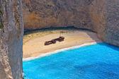 Navagio beach at Zakynthos island in Greece — Stock Photo