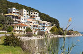 Traditional houses at Lefkada island, Greece — Stock Photo