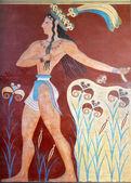 Ancienne fresque du Palais de knossos sur l'île de Crète — Photo