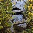 Stock Photo: Forgotten fishing boat at lake coast