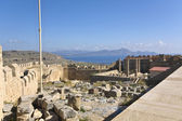 Lindos ancient acropolis from Rhodes island, Greece — Stock Photo