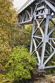 Gamla metalliska järnvägsbron på grekland — Stockfoto