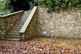 Gamla bakgård med sten staket och steg — Stockfoto