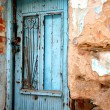 Old front door from a Greek traditional village house - Stock Photo