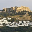 Lindos village at Rhodes island in Greece — Stock Photo