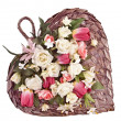 图库照片: Decorative heart shaped wick basket for wall mounting