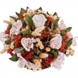 Decorative traditional wick basket with fake flowers in it — Zdjęcie stockowe #13346315
