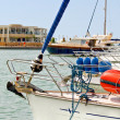 Detail view of a yacht anchored in a marina at Greece — Stock Photo