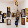 Various orthodox holy depictions hanging on wall — Stock Photo
