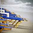 Stock Photo: View of beach in Greece with sunbeds