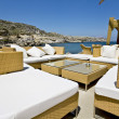 Luxury beach bar at Rhodes island in Greece - Stock Photo