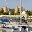 Scenic harbor of Rhodes island in Greece - Stock Photo