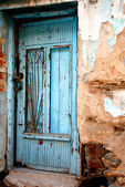Old front door from a Greek traditional village house — Stock Photo