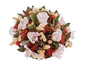 Decorative traditional wick basket with fake flowers in it — Foto de Stock