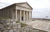 Rare ancient Greek temple alike, orthodox church at Corfu — Stock Photo