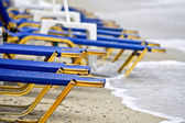 View of a beach in Greece with sunbeds — Stock Photo