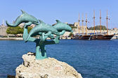 Scenic seafront at Rhodes island in Greece — Stock Photo