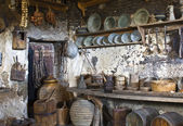 Old traditional kitchen inside a Greek monastery — Stock Photo