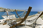 Beach bar at Rhodes island, Greece — Stock Photo