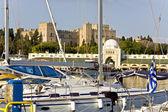 Scenic harbor of Rhodes island in Greece — Foto de Stock