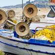Detail view from an old traditional fishing boat — Stock Photo