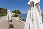 Beach at Rhodes island in Greece — Stok fotoğraf