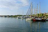 Scenic harbor at Rhodes island, in Greece — Stock Photo