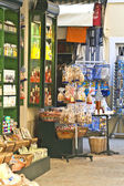 Traditional touristic shops at Corfu island — Foto de Stock