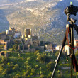 Camera on a tripod for landscape photography — Stock Photo