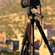 Camera on a tripod ready to shoot a landscape scenery — Stock Photo
