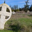Medieval cemetery with celtic crosses in Europe — Stock Photo
