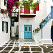 Traditional houses at Mykonos island in Greece — Stock Photo