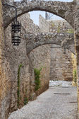 General view and landmarks of the medieval city and castle of Rhodes island in Greece — Stockfoto