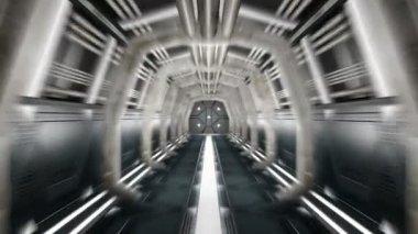 Corridor with opening door and alpha matte — Stock Video