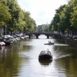 Amsterdam canal with bridge — Stock Video