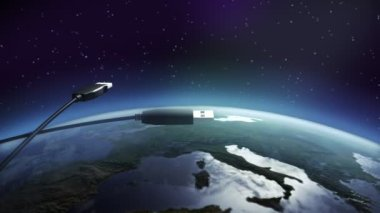 USB flying above earth — Stock Video