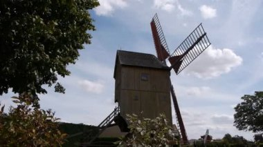 Old wooden windmill — Stock Video