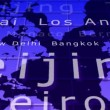 Flying over world map with city names — Vidéo #12754323