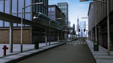 Monorail reizen door stad — Stockvideo