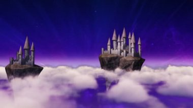 Sky-castles hovering above clouds — Stock Video