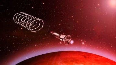 футуристический космический корабль — Стоковое видео