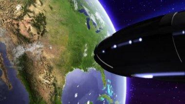 UFO invasion above earth — Stock Video