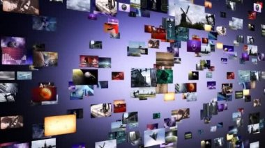 Flight through animated video wall — Stock Video