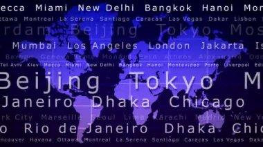Mapa mundial con bucle ciudad nombres — Vídeo de stock