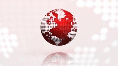 Rotating globe seamless loop red — Stock Video