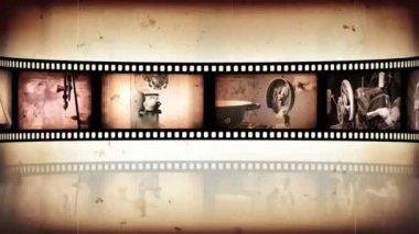 Reel clip sepia loop-able — Stock Video