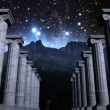 Stock Video: Greek pillars in cosmic scene