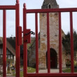 Historic church opening gate in Guerquesalles France — Stock Video