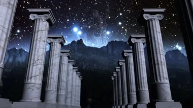 Greek pillars in cosmic scene — Stock Video